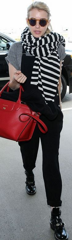 Emma Roberts: Purse – Longchamp Overalls – Elizabeth and James Shoes – Balenciaga Scarf – White+Warren