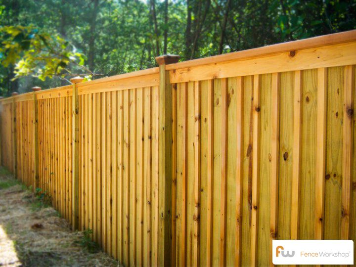 The king board and batten wood privacy fence pictures for Wood privacy fence ideas