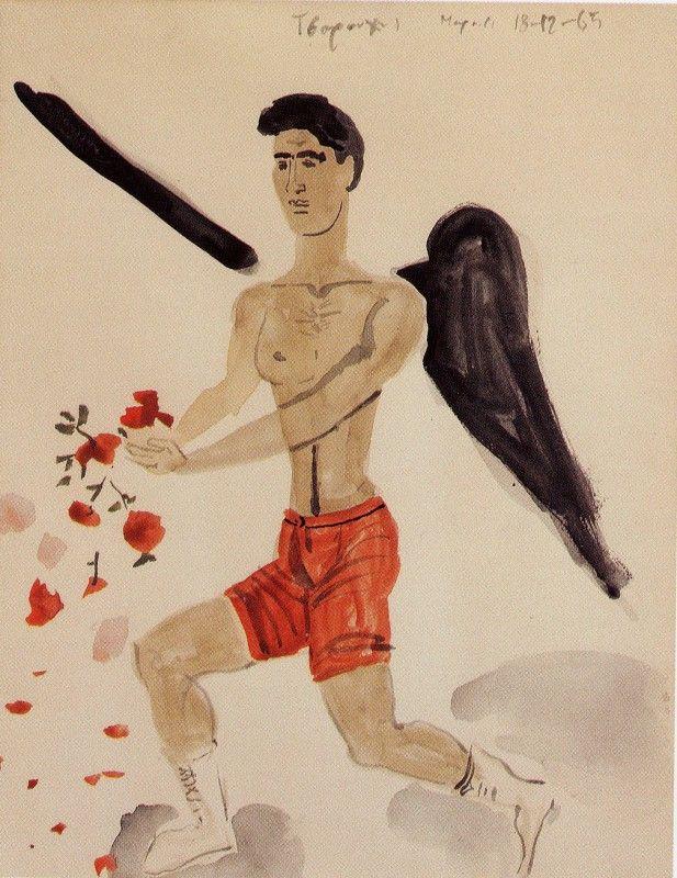 Άγγελος ραίνει τριαντάφυλλα, Γιάννης Τσαρούχης 1965. Ιδιωτική συλλογή.