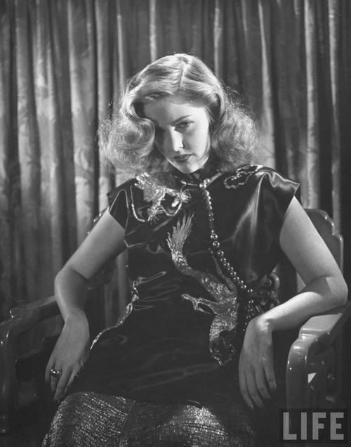 Martha Vickers Wearing Oriental Black Satin With Dragon