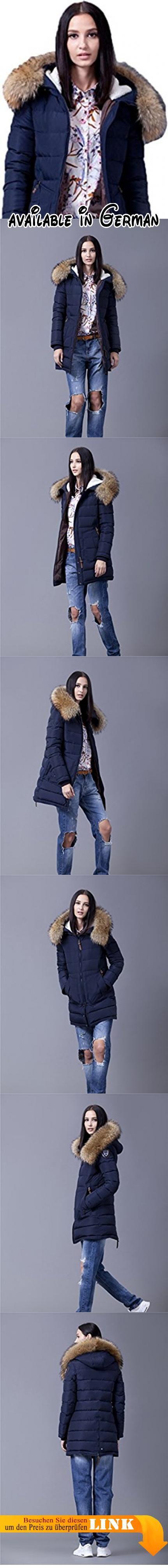 Sunrolan Damen Mantel Daunenmantel Steppmantel Wintermantel Daunen ng mit Kapuze Echtes Fell Dunkelblau XL. Material Füllung: 70% Daunen, 30% Federn. Detail Kapuze: unabnehmbare Kapuze, abnehmbares echtes Fellkragen. Taschen: zwei Außentaschen. Leicht tailliert, nicht wasserdicht. Hinweis: um die passende Größe auszuwählen, überprüfen Sie bitte Größentabelle in der Produktebeschreibung! #Apparel #OUTERWEAR