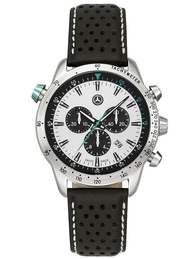 Part number:     B67996155  This sporty quartz watch with its on-trend retro look has a robust stainless steel case with a silver-coloured dial.  Petronas green accents on the second hand, crown and inlay ring add an attractive touch.  The bezel features tachymeter markings, and an inner rotating bezel with a 60-minute scale can be set using the crown.  The black calfskin strap features a sporty perforated design.
