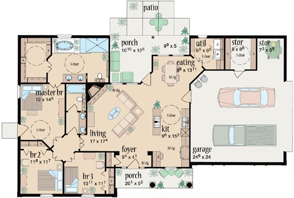 Ranch style house plans 1601 square foot home 1 story for Two story ranch house plans