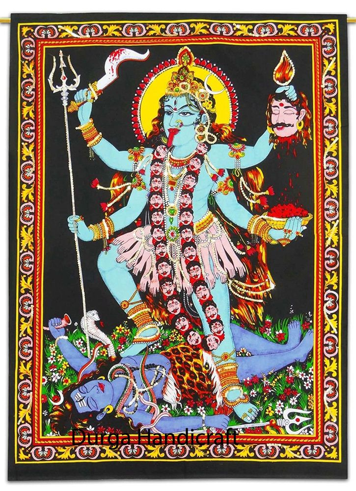 Kali Goddess Print Cotton Wall Hanging Poster Hindu God Temple Home Wall Decor Handmade Artdecostyle Yogamatta Mandala Tapestry Hanging Posters Hinduism Art