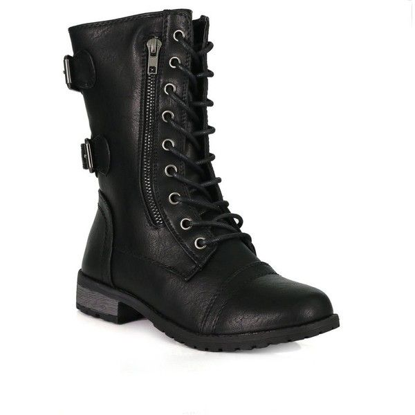 Mango-61 Lace Up Back Buckle Zip Up Combat Boots ($36) ❤ liked on Polyvore featuring shoes, boots, lace-up boots, lace up military boots, laced up boots, laced combat boots and front lace up boots