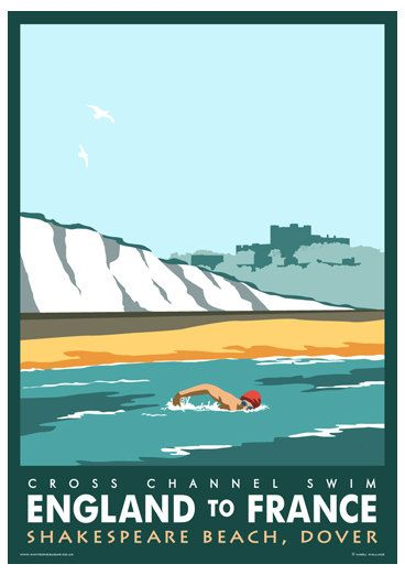 CHANNEL SWIM. Art print poster of Dover Cross by WhiteOneSugar