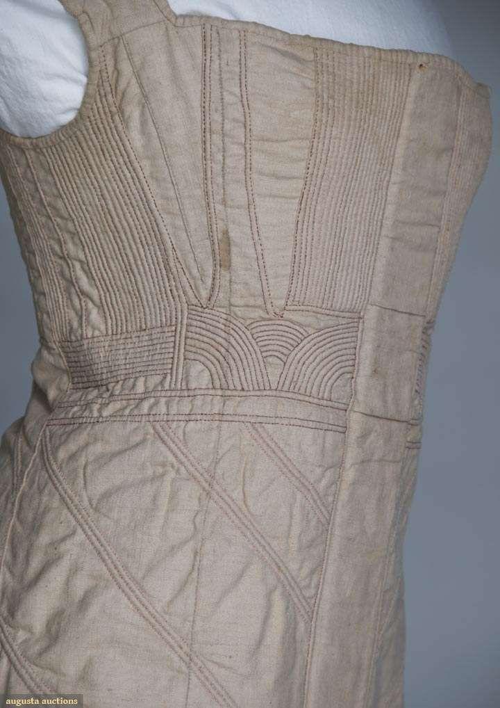 1825-30 Corded Cotton Corset, Augusta Auctions, cording design detail