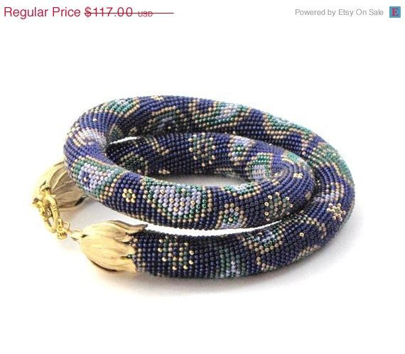 10%OFF Paisley,beads crochet rope necklace,blue purple necklace,crochet necklace,crochet jewelry,Bead crochet necklace,seed beaded n
