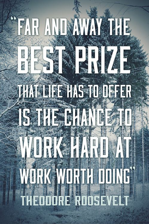 """""""Far and away the best prize that life has to offer is the chance to work hard at work worth doing."""" - Theodore Roosevelt (Typograph) (Quotes)"""