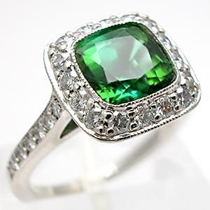 Superb Tiffany u Co Legacy Collection Engagement Ring Green Tourmaline u Diamond Ring Solid Platinum Sold