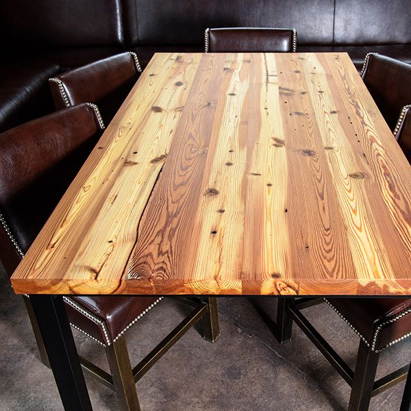 Belmont Collection - 1901 reclaimed wood heart pine gathering table. Rescued from the historic Belmont, NC Chronicle Mill. This southern pine is over 400 years old.