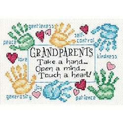 @Overstock - Honor your elders with this cross stitch kit from Dimensions  Counted cross stitch kit features a 'Grandparents Touch A Heart' pattern  Craft kit includes 14-count white Aida cloth, cotton thread, needle and instructionshttp://www.overstock.com/Crafts-Sewing/Grandparents-Touch-A-Heart-Cross-Stitch-Kit/3343877/product.html?CID=214117 $6.87