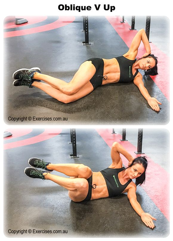 Oblique V Up is an effective exercise for targeting the oblique muscles. It also engages the rectus abdominis and transverse abdominis muscles as well as the hips and lower back.  View a full video demo at: http://www.exercises.com.au/oblique-v-up/