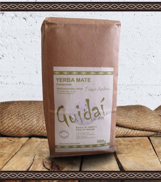 Yerba Mate Ecológica Guidaí Con Menta, Peperina, Incayuyo, Manzanilla Producción Artesanal Limitada Peso Neto: 500 g. Industria Argentina