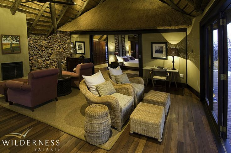 Little Ongava - The dining and lounge areas share the same wonderful views of the waterhole below and lend themselves to relaxed, stylish meals under thatch or African sky alike. #Africa #Safari #Namibia