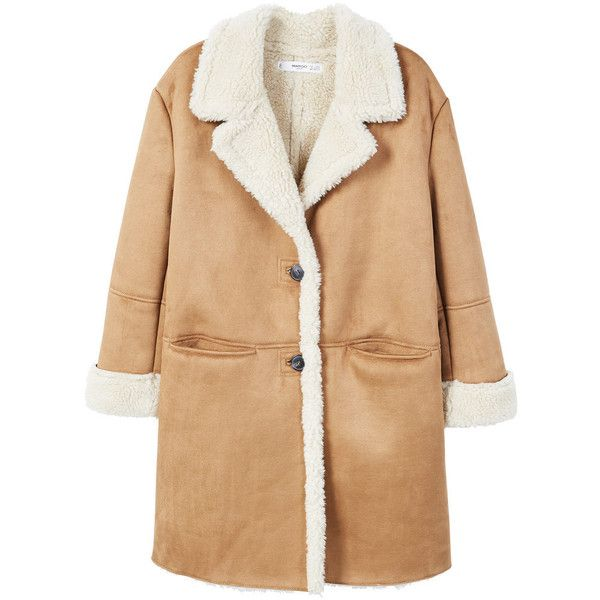 Faux Shearling Lining Coat (666705 PYG) ❤ liked on Polyvore featuring outerwear, coats, clothes / coats, faux shearling coat, sherpa coat, beige coat, lapel coats and mango coats