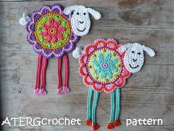 Ovejas de flor patrón de ATERGcrochet de ganchillo