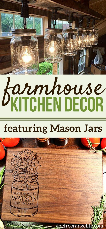 Mason Jar Kitchen Decor Ideas for your Farmhouse Kitchen. Show the Mason Jar love by decorating your kitchen with mason jar style! #masonjardecor