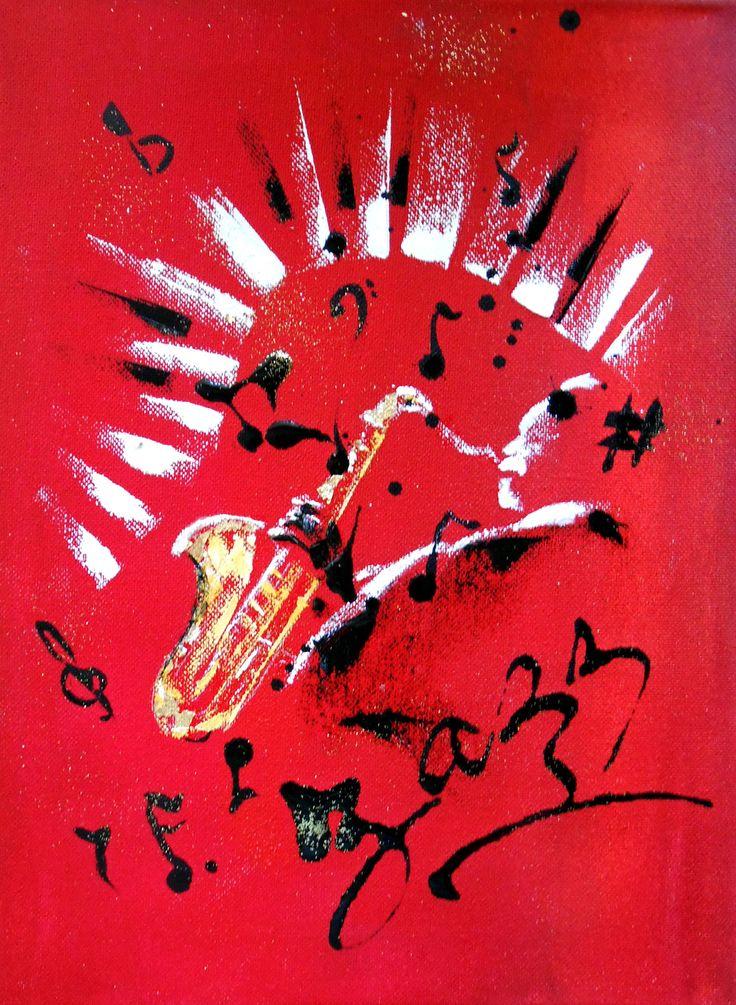 Tableau stylis saxophoniste jazz sur fond rouge et noir - Tableau rouge et noir ...