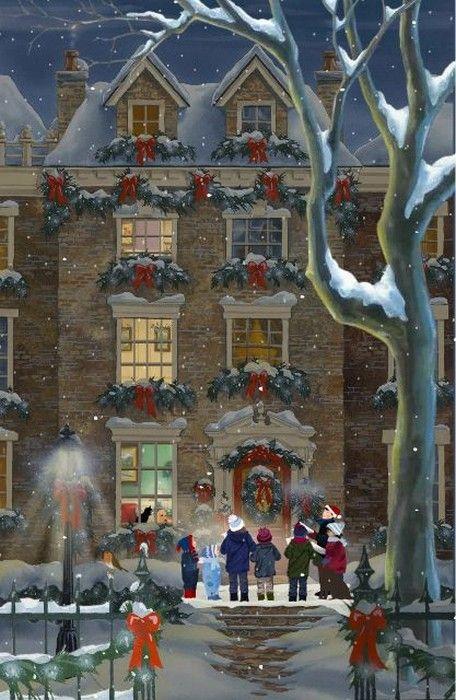 Jacquie Lawson  —  Christmas Visitors    (456x700)