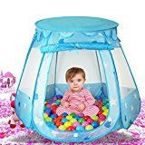 Kids Indoor Outdoor Prince Play Tent Castle with 100 PCS Balls Casa Mall Baby Pop Up Balls Pool Playhouse Ball Tent Toddler Toys (47  47 34 Inch) (Blue)