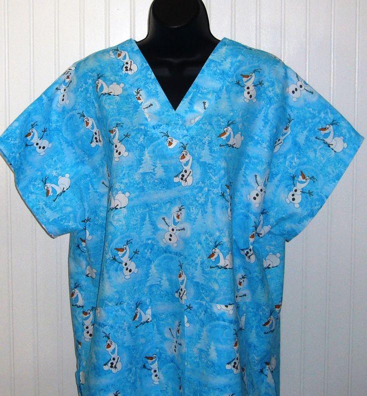 NEW** Disneys Frozen Olaf Blue Medical Nursing Scrub Top Shirt ...
