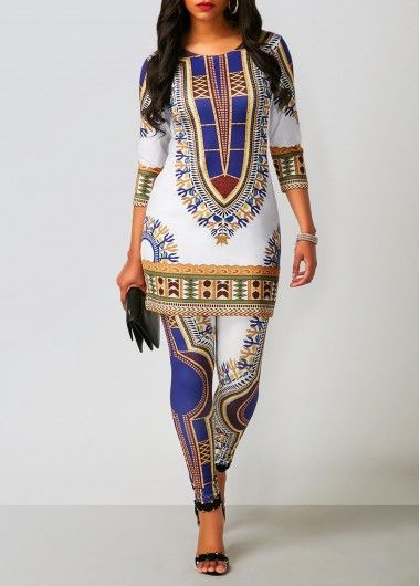 Dashiki Print Top and Ankle Length Pants