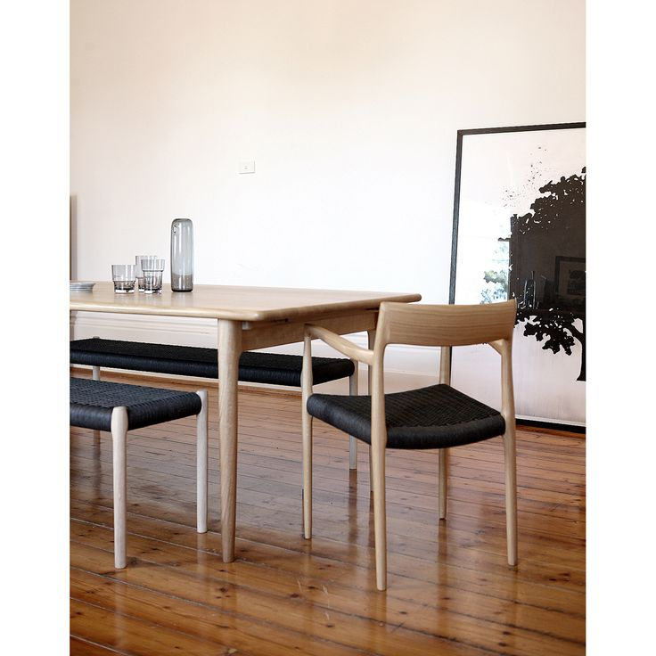 Moller #77 Chair, Moller Bench in black papercord and Moller Dining Table.
