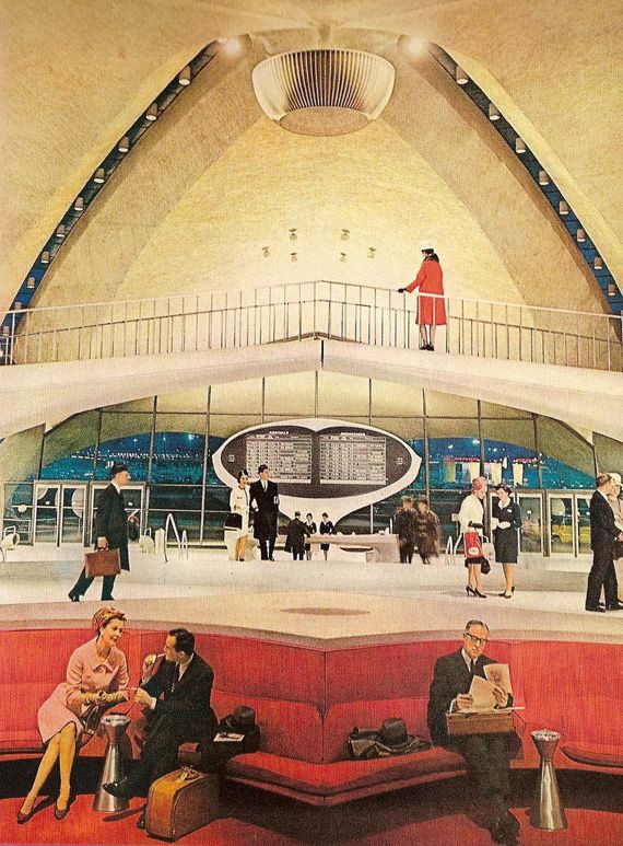 TWA flight terminal interior in NY in the 60s. Ugh, flying was so much more glamorous.