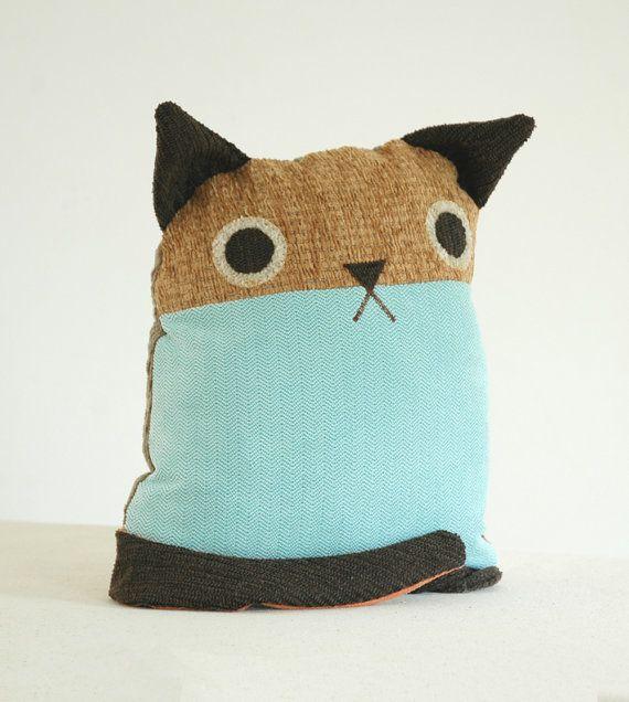 Cat Pillow --- Medium Turquoise Blue Tweed body, Mustard Nubby Yellow face --- Mid Century Modern on Etsy, $60.00