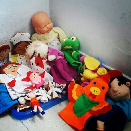 Puppet corner in my play therapy room.