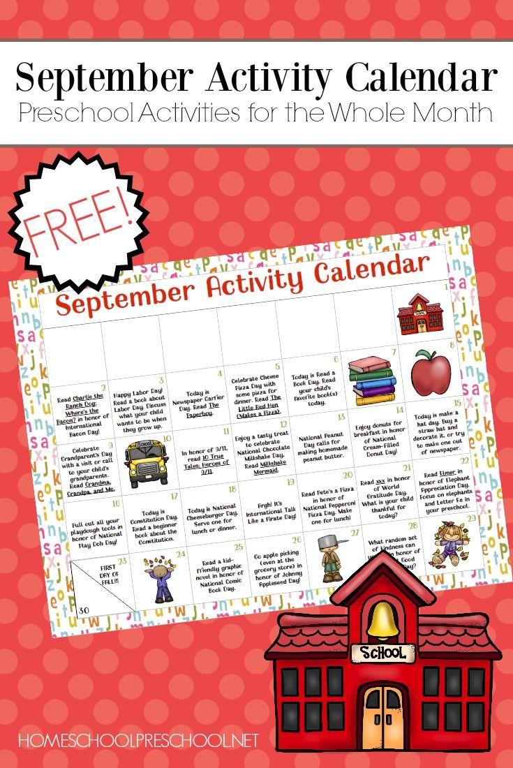Free Printable Preschool Activity Calendar for September ...