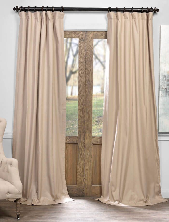 Rugged Tan Solid Cotton Blackout Curtain - SKU: PRCT-BO03B at https://halfpricedrapes.com