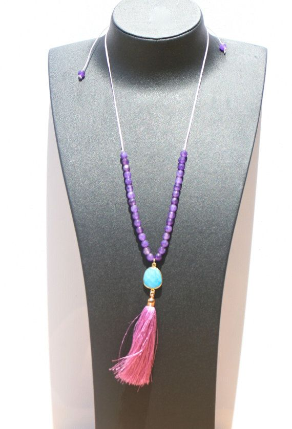 Necklace semi precious purple violet agate by marysartjewelry, $45.00