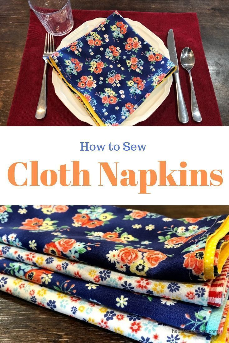 Sew Handmade Cloth Napkins Beginner Sewing Projects Easy Sewing