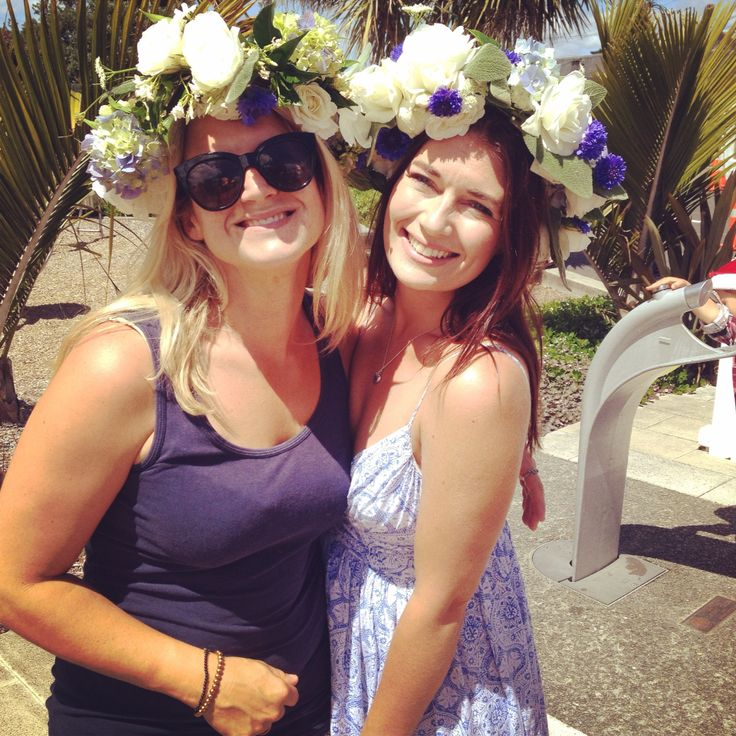 Two hand crafted floral head wreaths