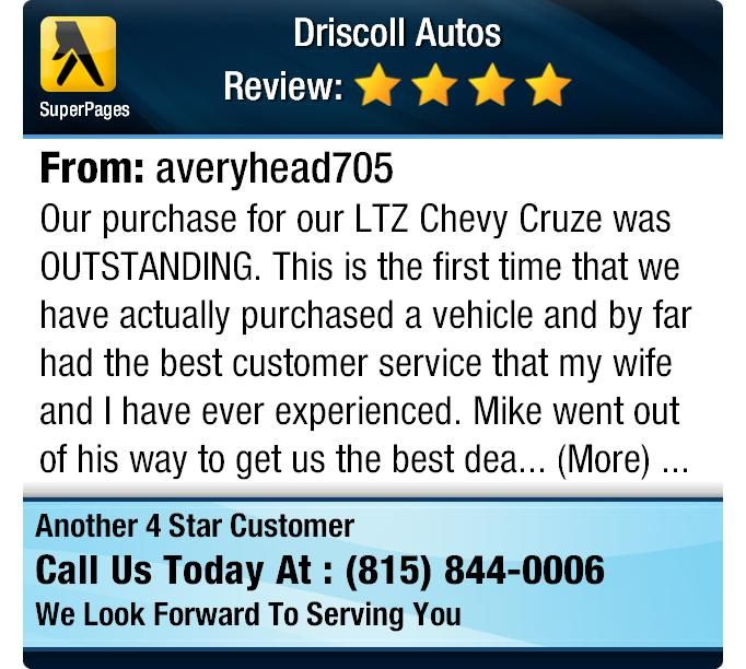 Our purchase for our LTZ Chevy Cruze was OUTSTANDING. This is the first time that we have...
