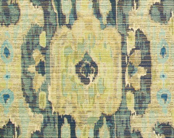 Chartreuse Ikat Fabric Contemporary Ikat by PopDecorFabrics