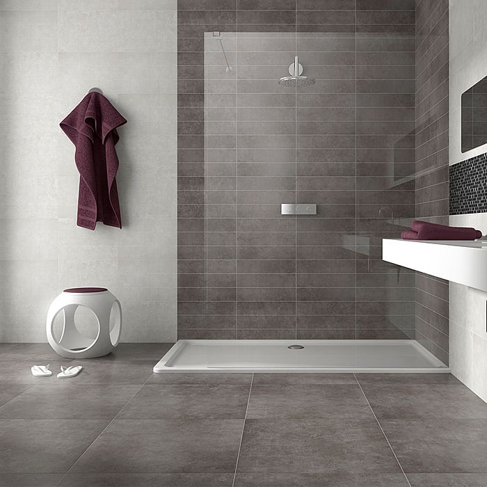 Dream tiles, showing superb inspiration for a bathroom using light and dark colours together with floral 'scored' decor pieces.