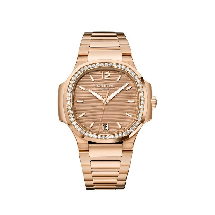 Patek Philippe Nautilus watch in a 35.2mm rose gold case with a brown opaline dial, gold applied hour markers and rose gold bracelet.