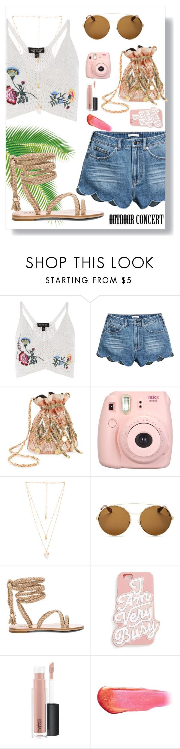 """""""Outside concert or Coachella? Can't decide"""" by yolopid ❤ liked on Polyvore featuring Topshop, Miss Selfridge, Fujifilm, Natalie B, Givenchy, ban.do, MAC Cosmetics, e.l.f., 60secondstyle and outdoorconcerts"""