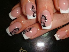 April nails, Beautiful French nails, Butterfly french manicure. Since I like pink so much, I would add a pop of pink in here - maybe outline in pink instead of black or pink inside...