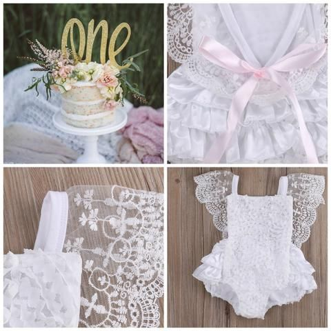 Amy White Vintage Lace Christening & Birthday White Ruffle Romper