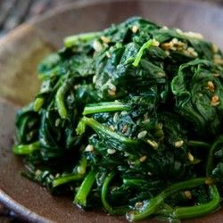 Spinach with Sesame and Garlic. I made this tonight and it was amazing. I am never making spinach any other way.