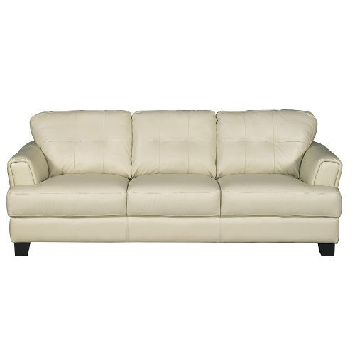 C971DC513CREAMSO Contemporary Cream Leather Sofa   District
