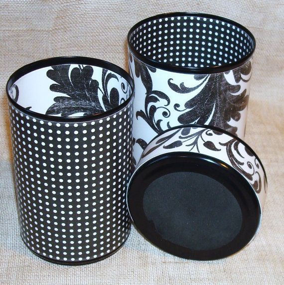 Black and White Lacy Leaf and Dots Pencil Holder Desk Accessory Set No. 080