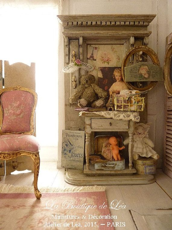 Old toys, Oval frame, Dressed Rabbit, Cloakroom Shabby, Furniture for a French dollhouse in 1:12th scale