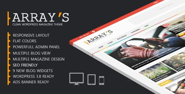 Arrays #Magazine #WordPress Theme by Wpsmart. A #clean, #flat, #responsive template available on #ThemeForest. #blog #webdesign #inspiration #html5