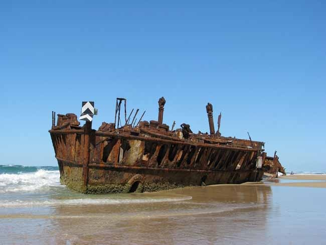 Wreck on beach on Fraser Island Qld Aust