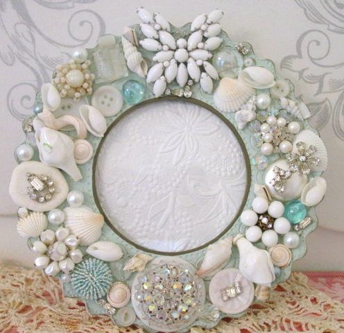 recycled treasures...the single earring you have, seashells, costume jewelry that's broken... plate? add mirror? or photo
